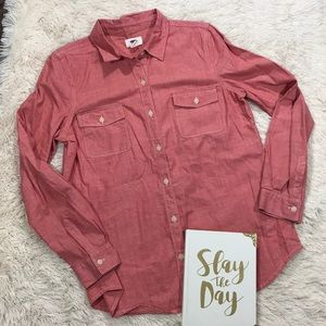 Old Navy Red Long Sleeve Button Down